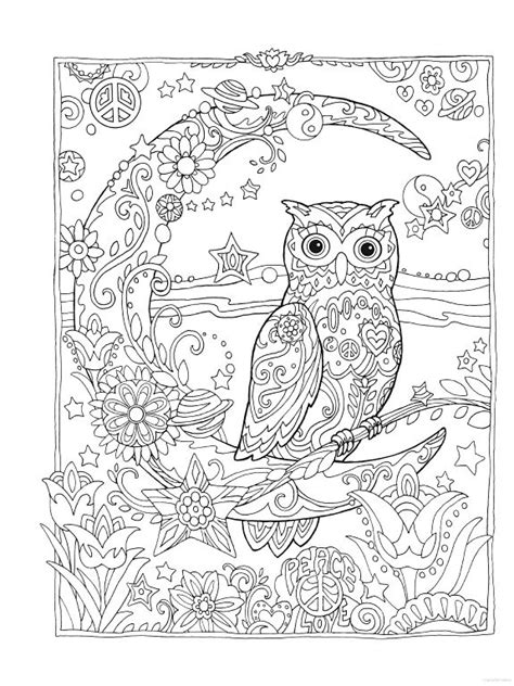 printable owl moon owl owls crescent moon flowers peace space coloring pages