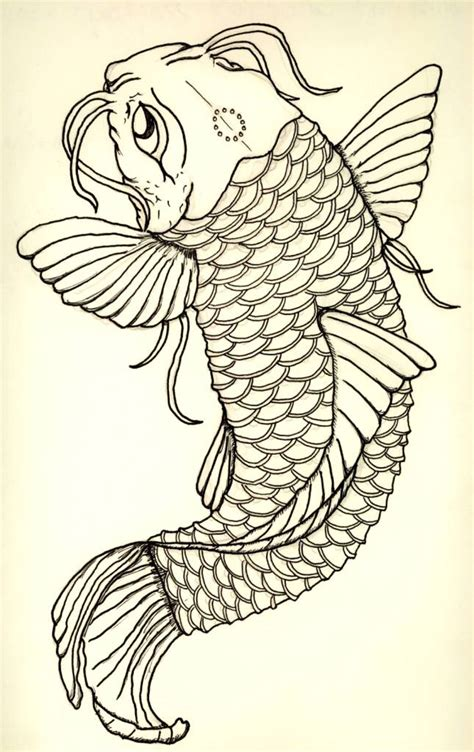 black outline koi fish design tattooshunter