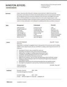 restaurant assistant manager resume templates cv exle
