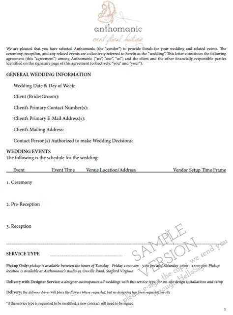 Inspirational Wedding Flower Contract Floral Wedding Inspiration Florist Contract Template