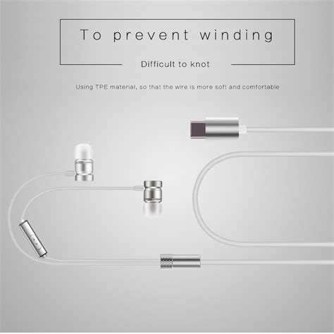Earphone Usb Type C With Mic For Letv Smartphone earphone usb type c with mic for letv smartphone gray