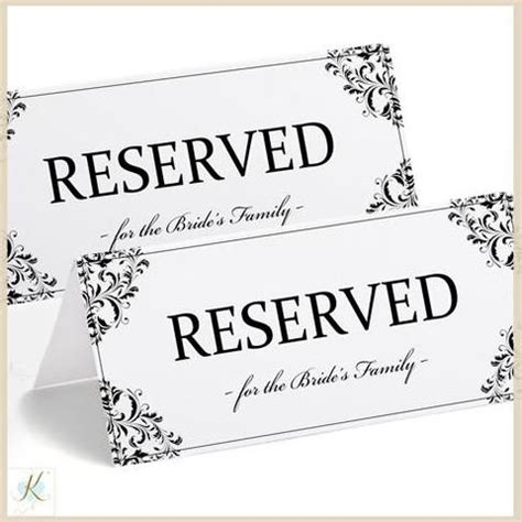 Printable Wedding Signs Table Tents Karma K Weddings Reserved Table Sign Template