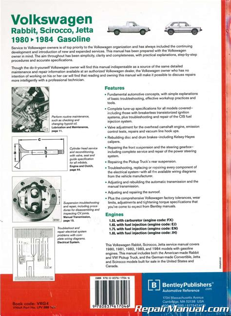 online car repair manuals free 2006 volkswagen rabbit interior lighting volkswagen rabbit scirocco jetta service manual 1980 1984