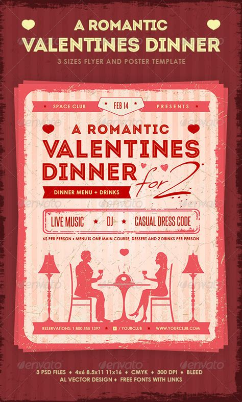 special valentines dinner print template graphicriver s dinner
