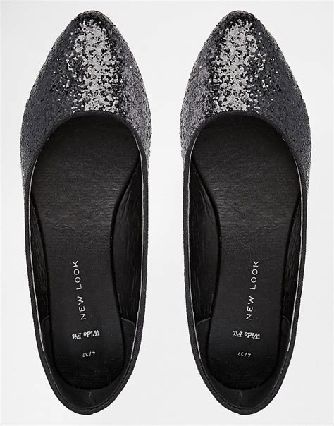 black sparkle flat shoes new look wide fit new look wide fit liquid black glitter