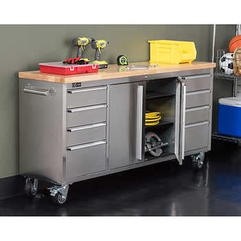 costco rolling tool bench trinity 72 quot stainless steel workbench