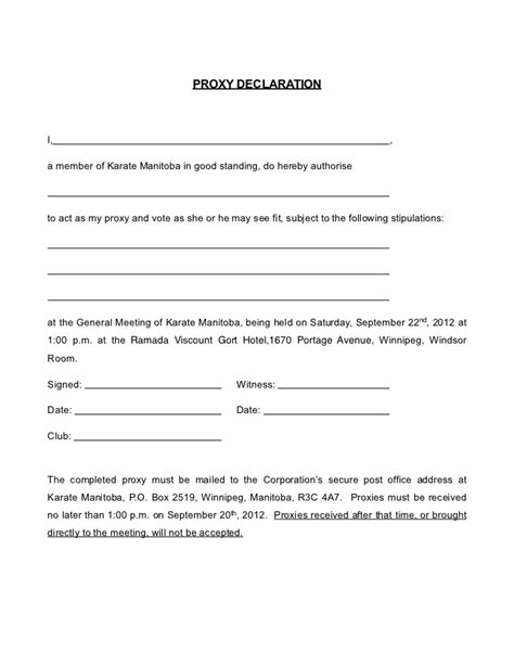 Proxy Form Karate Manitoba 2012 2013 Proxy Form Template
