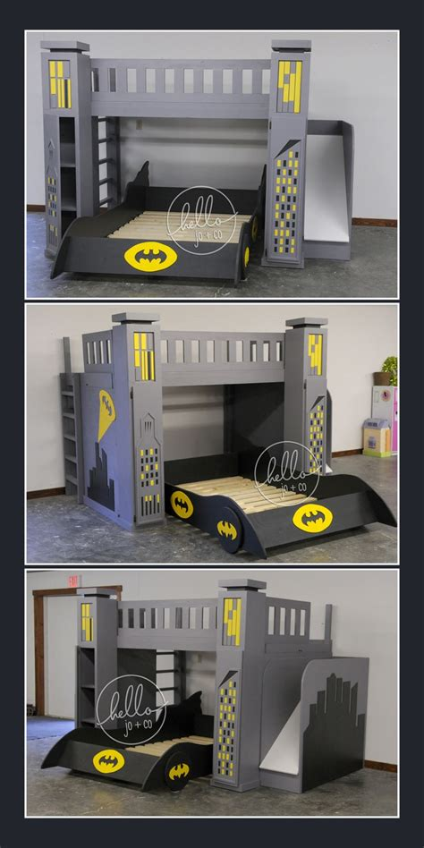 Full Over Full Custom Batman Bed With Slide Storage Batman Bunk Beds