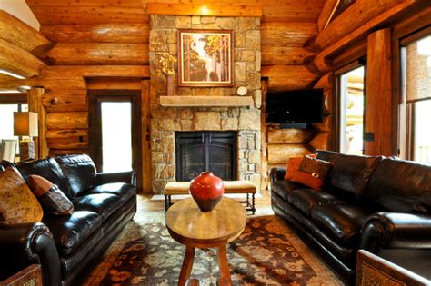 Cedar Living Room by Western Cedar Ranch Style Log Home Traditional