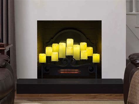 candle fireplace insert duraflame 20 quot infrared electric candle holder insert dfi008