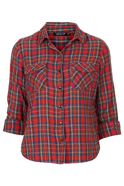 Tartan Blous topshop tartan check shirt in lyst