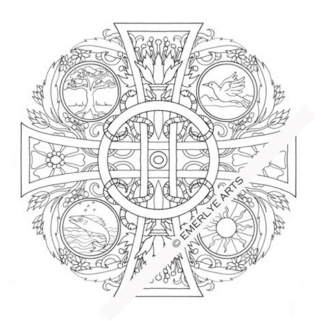 cross mandala coloring pages cynthia emerlye vermont artist and coach four