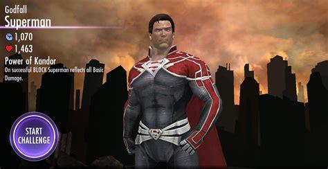 injustice challenge characters injustice gods among us mobile godfall superman challenge