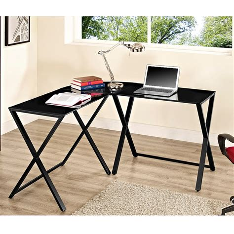 glass l shape computer desk with silver frame finish glass l shaped desk imgkid com the image kid has it