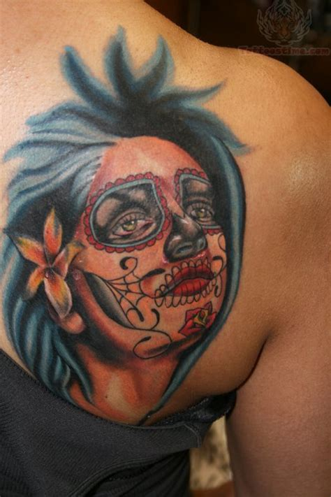 back tattoo girl sugar skull back tattoos