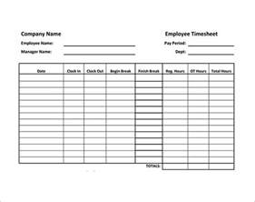 Timesheet Template by Employee Timesheet Sle 11 Documents In Word Excel Pdf