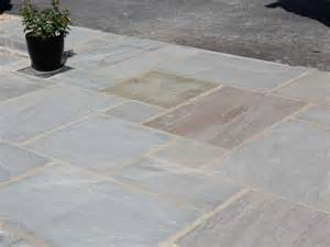 dove grey sandstone patio paving calibrated