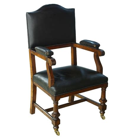 vintage leather oak magistrates court throne bench chair