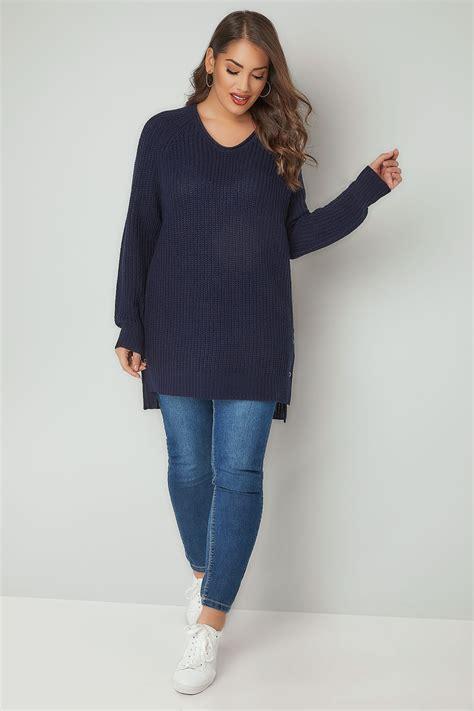navy chunky knit jumper navy chunky knit v neck jumper with popper sides plus