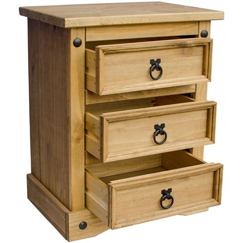 Mexican Drawer by Corona Bedside Chest 3 Drawer Mexican Solid Waxed Pine