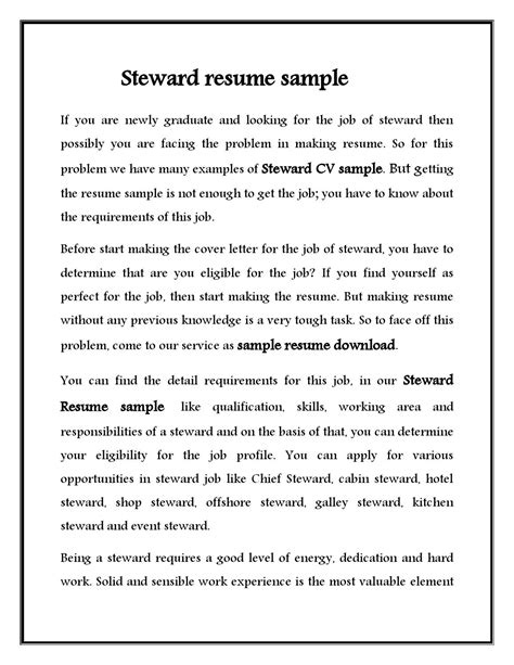 Galley Steward Sle Resume by Cover Letter For Steward Cover Letter Templates