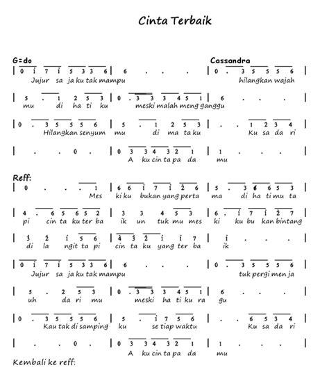 angka pianika lagu cinta terbaik cassandra