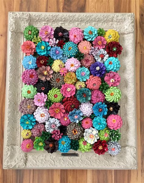 pine cone craft framed flower decor made from pine cones crafty morning