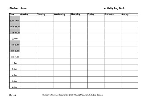 daily work log book template best photos of weekly activity log template daily log