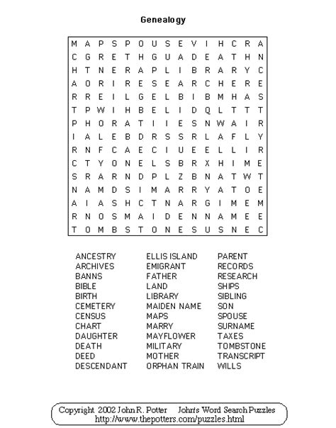 Johns Search S Word Search Puzzles Genealogy Puzzle