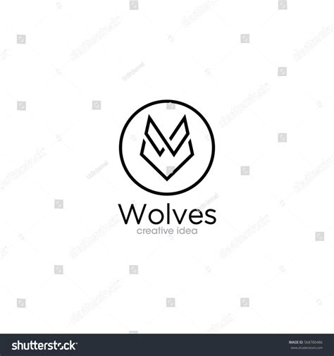 template simple wolf and simple wolf creative concept logo design stock vector