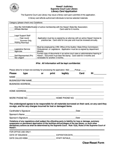 Library Card Application Form Template by 37 Hawaii Court Forms And Templates Free To In Pdf