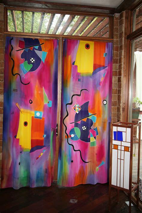 painting on curtains natasha silk art 187 red kandinsky