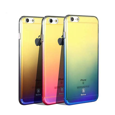 baseus luxury gradient color transparent cover for iphone 6 plus 6splus 5 5 inch