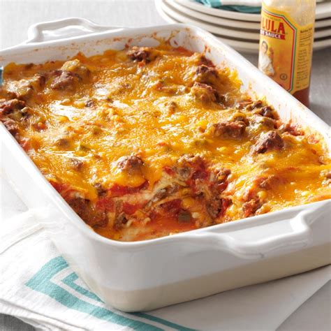 beef taco lasagna recipe taste of home
