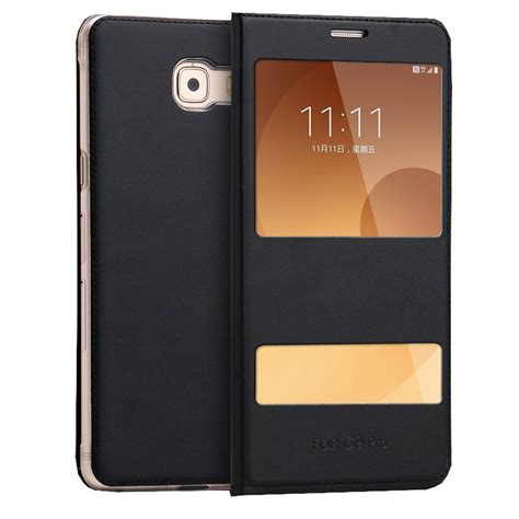 Samsung C9 Pro Sarung Leather Flip Cover Stand window leather flip covervfor samsung galaxy c9 pro from category cases covers
