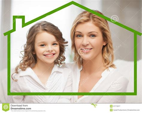 mother daughter house mother and daughter with eco house royalty free stock photography image 37773377