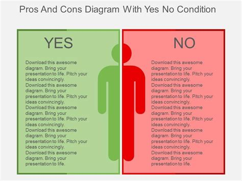 pros and cons matrix template pros and cons diagram with yes no condition flat