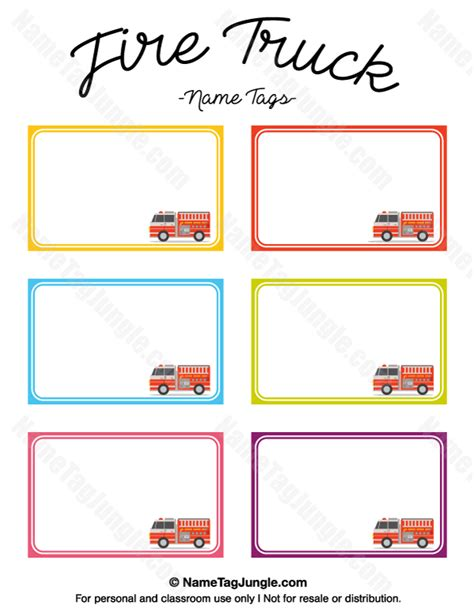 Printable Fire Truck Name Tags Auto Labels Templates