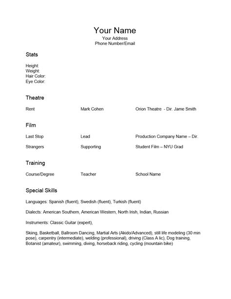 theatre resume template word acting resume template tryprodermagenix org