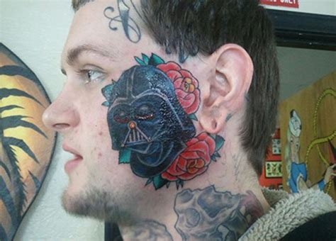 yoda old school tattoo yeah you did guy gets darth vader tattoo on face geekologie