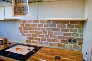 Faux Brick Backsplash In Kitchen by Remodelaholic Tiny Kitchen Renovation With Faux Painted