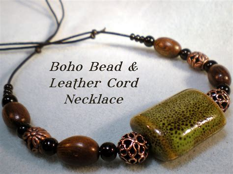 Boho Bead and Leather Cord Necklace Tutorial   YouTube