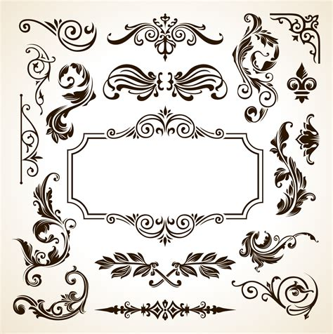 calligraphic design elements vector free frame border pattern flowers vector vintage ornamental
