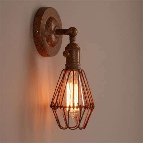 retro industrial iron bird cage wall light w switch