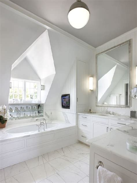 dormer bathroom l shaped vanity design ideas