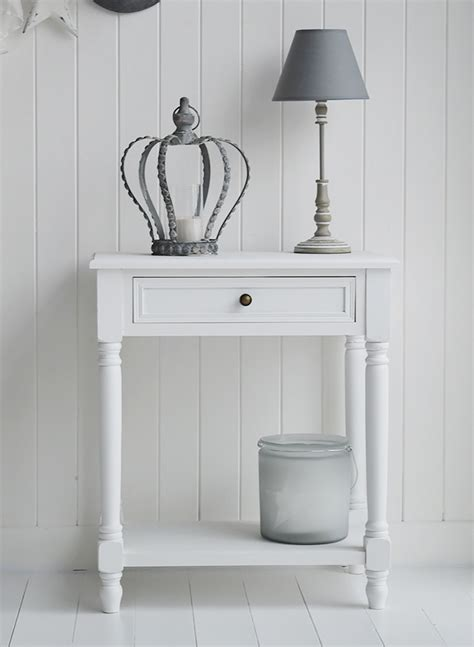 White Hallway Console Table Cove Bay Small White Console Table With Drawer And Shelf For Hallway Or Living Room Large
