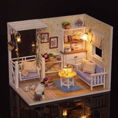 miniture doll houses new dollhouse miniature diy kit with cover wood toy doll house room kitten diary
