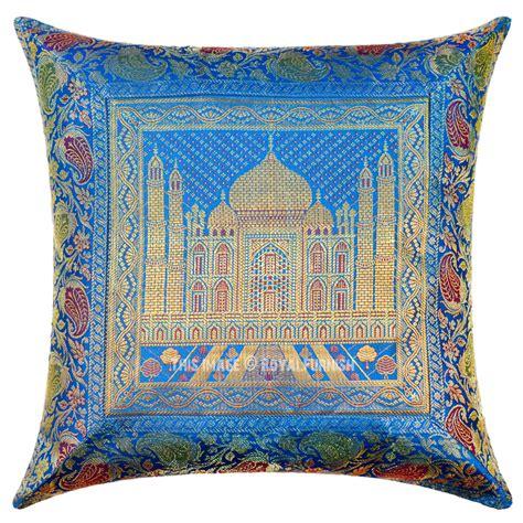 16 Quot Turquoise Blue Indian Tajmahal Silk Brocade Sofa Throw Sofa Throw Pillow
