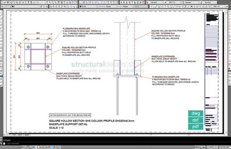 shs section square hollow section shs column baseplate detail drawing