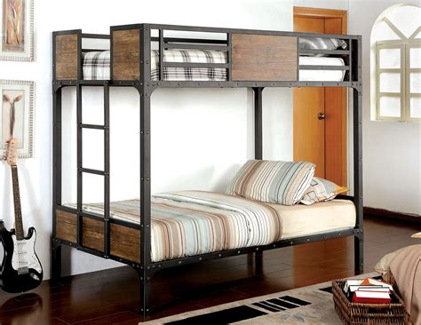 wood and metal futon bunk bed rustic wood black metal bunk bed caravana furniture